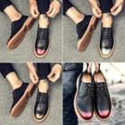 Lace-up Panel Stitched Oxfords