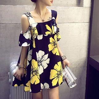 Floral A-line Dress Yellow - One Size