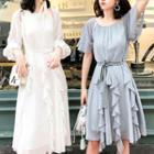 Long-sleeve Tie-waist Dress / Short-sleeve Tie-waist Dress