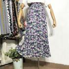 Floral Print Pleated Midi A-line Skirt