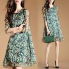Tab-sleeve Sleeve Patterned Chiffon Dress