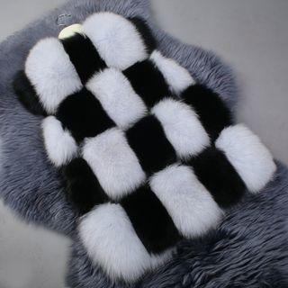Color Panel Faux Fur Vest
