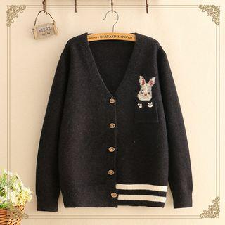 Rabbit Embroidered Knit Cardigan