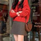 Mini A-line Skirt / Cable-knit Sweater