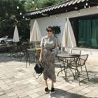 Crinkled Leopard Long Skirt