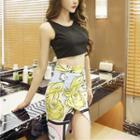 Set: Cropped Tank Top + Printed Pencil Skirt
