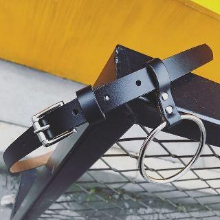 Genuine Leather Belt With Hoop Accent