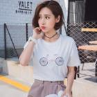 Bicycle Embroidered Short Sleeve T-shirt