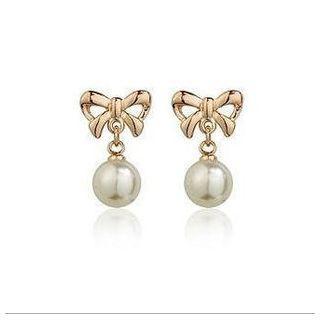 Bow Faux Pearl Earrings
