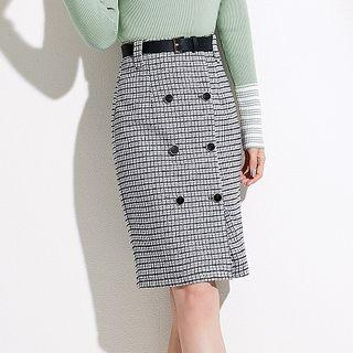 Plaid Double Breasted Fitted Skirt