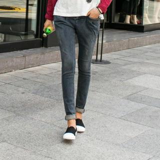 Band-waist Washed Jeans