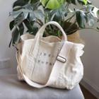 Lettering Canvas Shoulder Bag White - One Size