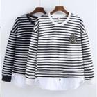 Patch Embroidered Striped Pullover