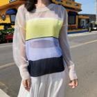 Color Block Open Knit Top