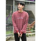 Letter-embroidered Striped Boxy Sweatshirt