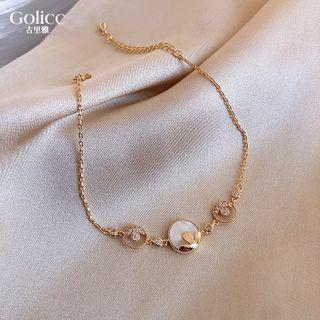 Rhinestone Floral Bracelet Gold & White - One Size