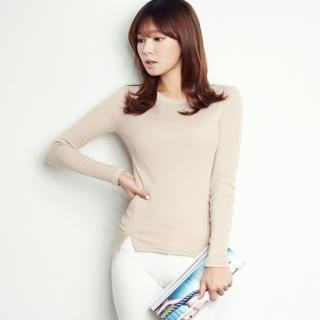 Long-sleeve Slit-side T-shirt