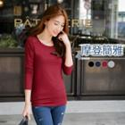 Mesh-trim Long-sleeve Fitted Tee