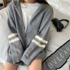 Striped Hooded Zipped Jacket