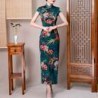 Floral Short-sleeve Maxi Cheongsam