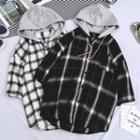 Plaid Hooded Short Sleeve Shirt