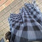 Pleated Plaid Tulle Skirt