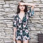 Set: Flower Print Bikini + Playsuit