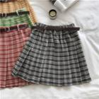 Plaid Pleated Skirt With Belt