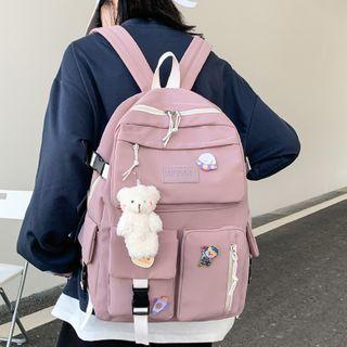 Bear Charm Buckled Backpack