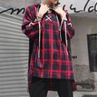 Plaid Hooded 3/4-sleeve T-shirt