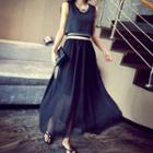 Sleeveless Mock Two-piece Maxi Dress