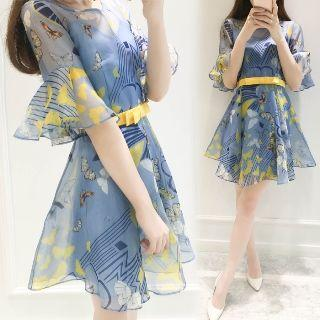 Printed Ruffled A-line Dress