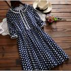Polka Dot Long-sleeve Collared A-line Dress