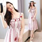 Tasseled Sleeveless A-line Dress