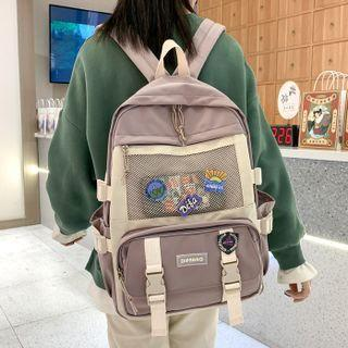 Mesh Pocket Buckled Backpack