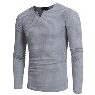 Long Sleeve V-neck Rib Knit Top