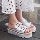 Genuine-leather Buckled Platform Slide Sandals