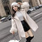 Furry Trim Tie Waist Coat