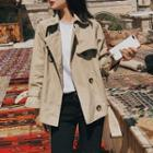 Double Breasted Cropped Trench Jacket