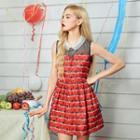 Sleeveless Collared Print Dress