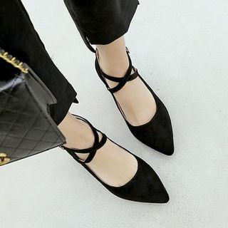 Pointed Toe Ankle Cross Strap Pumps