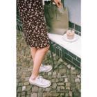 Slit-side Floral Pattern Skirt