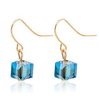 Crystal Cube Hook Earrings