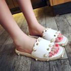 Faux-pearl Slide Sandals