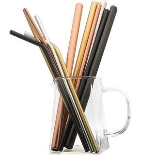 Set: Stainless Steel Drinking Straw + Cleaning Brush