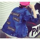 Lettering Applique Oversized Denim Jacket