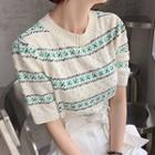 Short-sleeve Patterned Sweater
