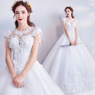 Cap-sleeve Flower Accent Ball Gown Wedding Dress