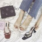 Strappy Kitten Heel Slide Sandals