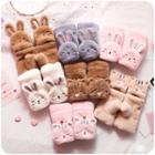 Chenille Rabbit Fingerless Mittens